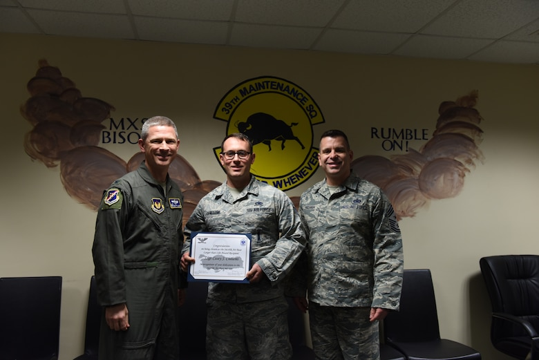 "Congratulations to Staff Sgt. Casey ""Chili"" Chillemi, 39th Maintenance Squadron munition operations NCO in charge, for winning the Larger Than Life Award at Incirlik Air Base, Turkey, Dec. 26, 2018."