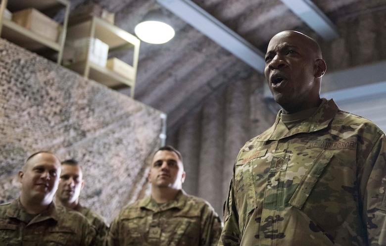 Chief Master Sgt. of the Air Force Kaleth O. Wright leads Airmen in the 455th Expeditionary Communications Squadron chant during a visit to Bagram Airfield, Afghanistan, Dec. 25, 2018. Wright responded to a variety of questions to include changes to the enlisted assignments system. (U.S. Air Force photo by Senior Airman Kaylee Dubois)