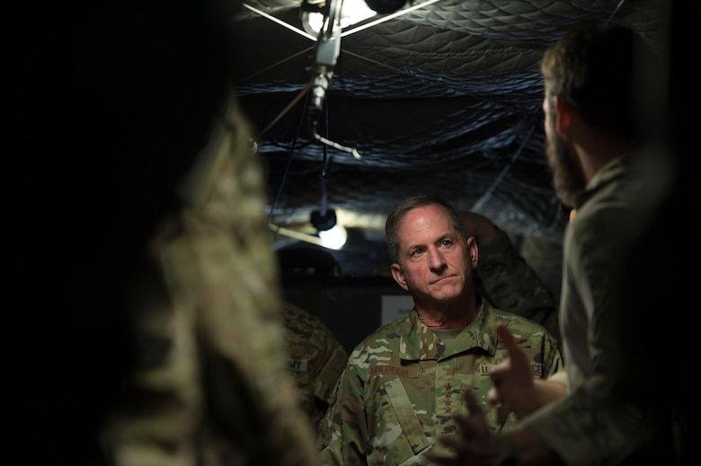 Air Force Chief of Staff Gen. David L. Goldfein visits with Airmen from the 83rd Rescue Squadron at Bagram Airfield, Afghanistan, Dec. 25, 2018. During the visit to the squadron he also met with Army National Guard CH-47 Chinook helicopter aircrew and maintainers who regularly conduct joint training and operations with 83rd RQS rescue personnel. (U.S. Air Force photo by Senior Airman Rito Smith)