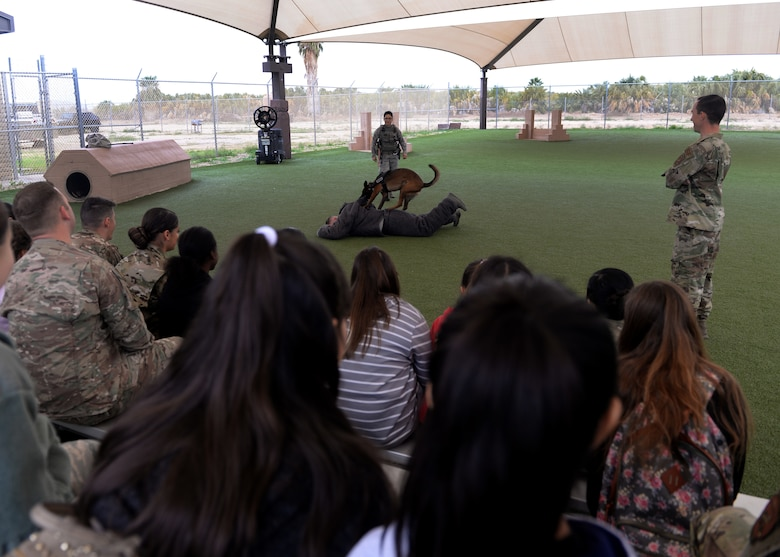 "56th Security Forces Squadron military working dog handlers demonstrate how a MWD apprehends a suspect during the ""Day of Hope"" event at Luke Air Force Base, Ariz., Dec. 21, 2018."