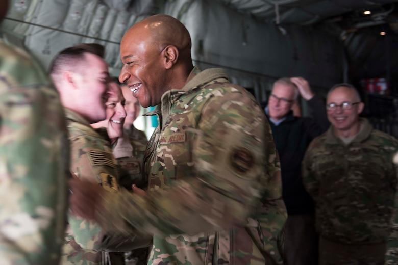 Chief Master Sgt. of the Air Force Kaleth O. Wright greets Staff Sgt. Colin Selch, 774 Expeditionary Airlift Squadron loadmaster, during a visit to Bagram Airfield, Afghanistan, Dec. 25, 2018. As the highest-ranking enlisted member in the Air Force, Wright provides direction for the enlisted force and represents their interests to the American public and those in all levels of government. (U.S. Air Force photo by Senior Airman Kaylee Dubois)
