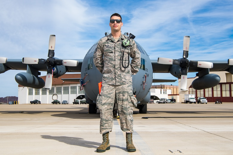 Spotlight portrait of Staff Sgt. Neil Lindsay, a Crew Chief with the 130th Aircraft Maintenance Squadron. (U.S. Air National Guard Photo by Airman 1st Class Caleb Vance)