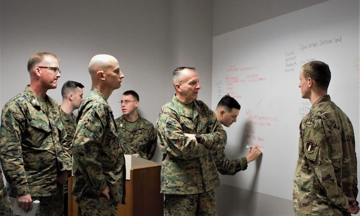 The Marine Corps University (MCU) Energy & Innovation Scholars Program met on Wednesday, December 12 at the Brute Krulak Center for Innovation and Creativity.  Marine teams have been working on solutions to energy-related problems on the battlefield.  Lt. Gen. Charles G. Chiarotti, deputy commandant for Installations and Logistics, reviewed each team's proposal.