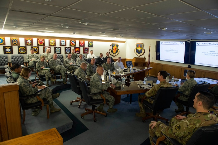 U.S. Air Force Lt. Gen. Steven Kwast, commander of Air Education and Training Command, addresses leadership of the 97th Air Mobility Wing, Dec. 18, 2018, at Altus Air Force Base, Okla. Representatives from approximately 15 different squadrons and five groups met with Kwast to explain the current operations and innovations of the 97th Air Mobility Wing. (U.S. Air Force photo by Senior Airman Cody Dowell)