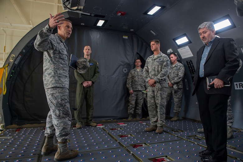 U.S. Air Force Lt. Gen. Steven Kwast, commander of Air Education and Training Command, shares his opinion about the KC-46 Pegasus Fuselage Trainer, Dec. 18, 2018, at Altus Air Force Base, Okla. The Fuselage is a replica of the KC-46, which will be used by future students of the 97th Air Mobility Wing. (U.S. Air Force photo by Senior Airman Cody Dowell)