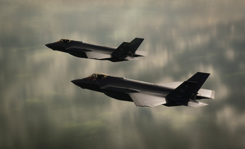 Two U.S. Air Force F-35A Lightning IIs, assigned to the 4th Fighter Squadron from Hill Air Force Base, Utah, conduct flight training operations over the Utah Test and Training Range on Feb 14, 2018. The F-35A is a single-seat, single engine, fifth generation, multirole fighter that's able to perform ground attack, reconnaissance and air defense missions with stealth capability. (U.S. Air Force photo by Staff Sgt. Andrew Lee)