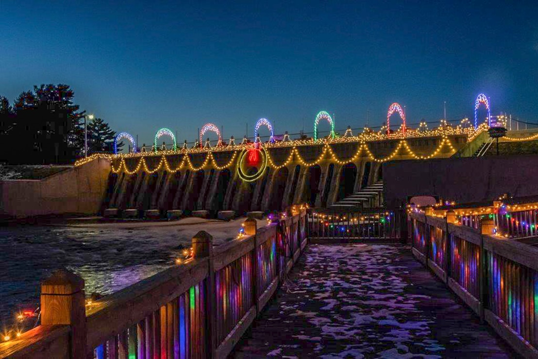 dam decorated with lights