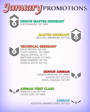 The 507th Air Refueling Wing enlisted promotion list for January 2019. (U.S. Air Force image by Tech. Sgt. Samantha Mathison)