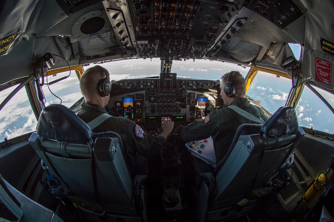Maj. Mike Dirnberger and Capt. Andy Jaskie, Wisconsin Air National Guard KC-135 Stratotanker pilots, fly over the Pacific during an air refueling mission during Sentry Aloha 19-1, Dec. 13, 2018.