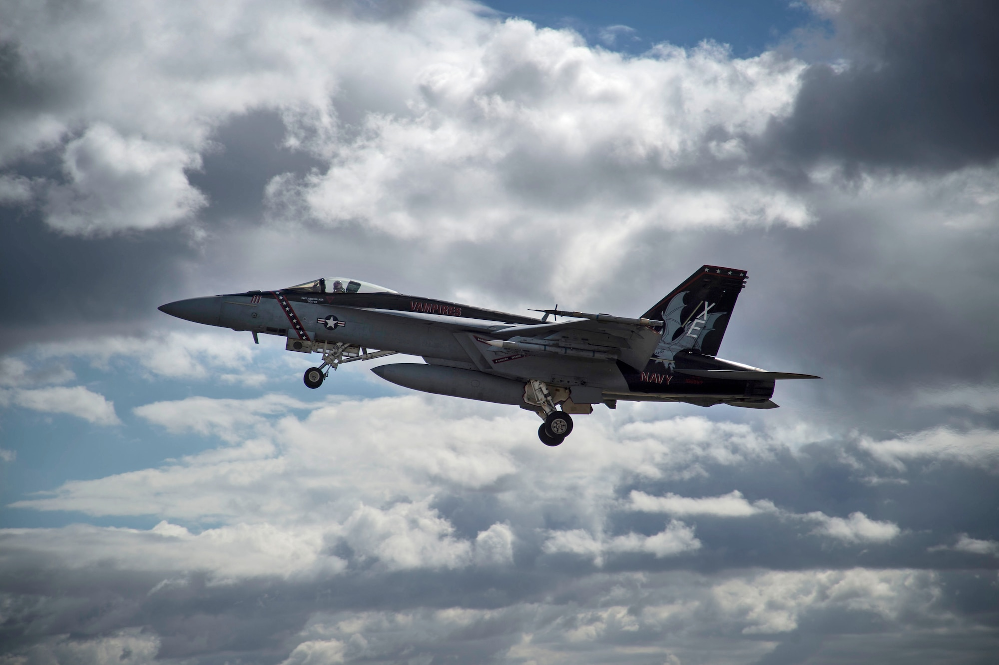 A U.S. Navy F/A-18F Super Hornet from China Lake, California, takes off from Joint Base Pearl Harbor-Hickam, Hawaii, during Sentry Aloha 19-1, Dec. 18, 2018
