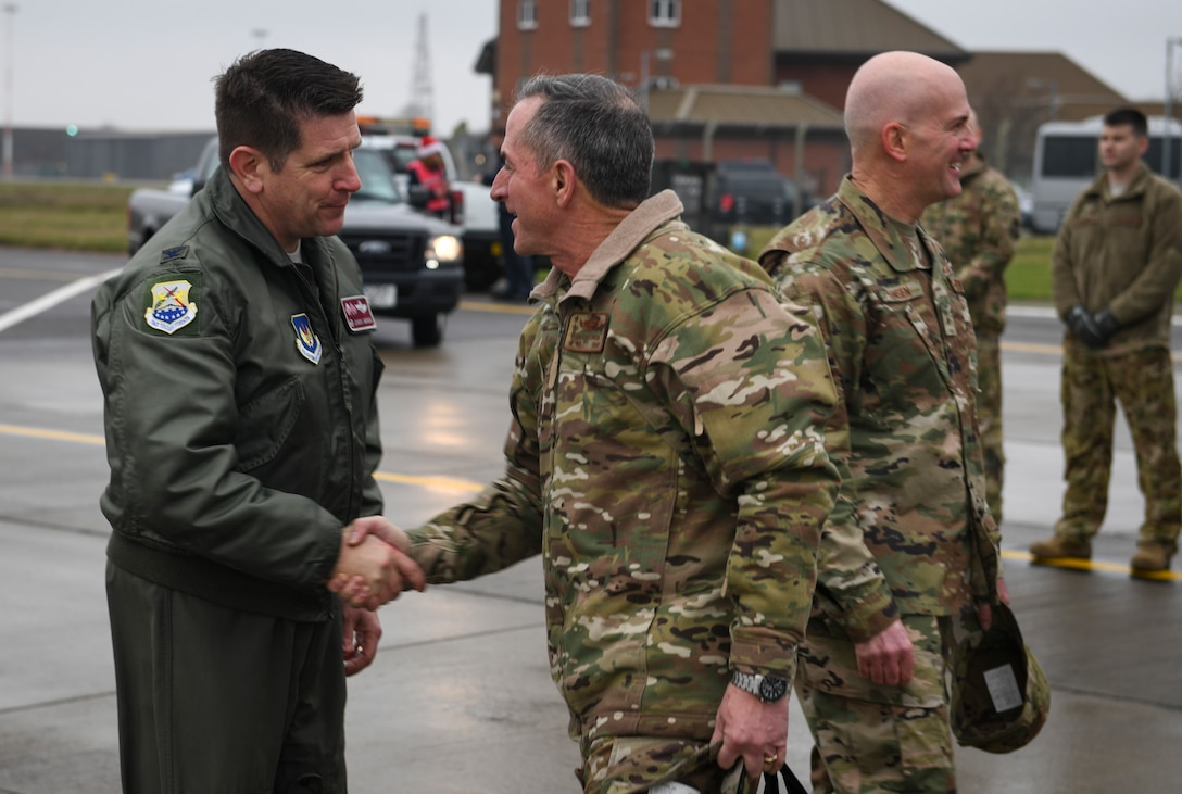 U.S. Air Force Col. Christopher Amrhein, 100th Air Refueling Wing commander, greets Air Force Chief of Staff Gen. David L. Goldfein as he arrives at RAF Mildenhall, England, Dec. 26, 2018. Goldfein visited RAF Mildenhall after traveling throughout the U.S. Central Command area of responsibility with Chief Master Sgt. of the Air Force Kaleth O. Wright to thank Airmen for their service in defense of America. (U.S. Air Force photo by Tech. Sgt. Emerson Nuñez)