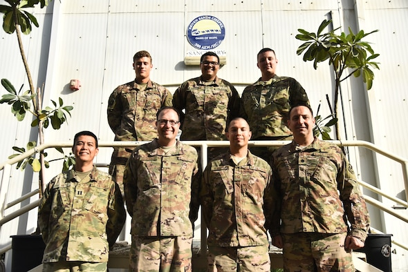 The U.S. Armed Forces Chapel Team poses for a photo at Al Dhafra Air Base, United Arab Emirates, Dec. 25, 2018. The team consists of six Airman from the 380th Air Expeditionary Wing religious support team and two Soldiers from the 1-43 Air Defense Artillery Battalion unit ministry. The eight-member team is in charge of consulting with leadership on moral, ethical and quality-of-life issues; boosting the morale at ADAB by hosting and conducting regional trips and organizing events; providing resources for and conduct for worship services; and personally guiding any individual that knocks on their door. (U.S. Air Force photo by Senior Airman Mya M. Crosby)