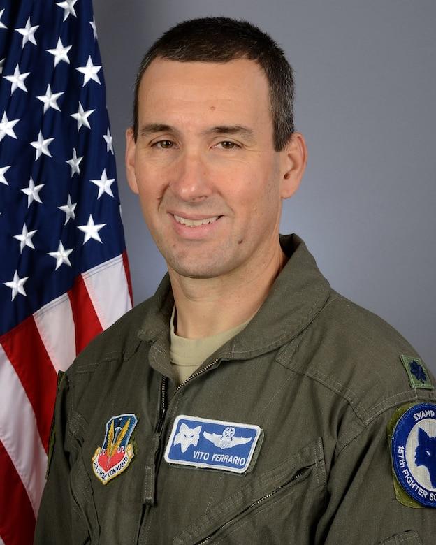 Portrait of U.S. Air Force Lt. Col. Michael Ferrario, the 157th Fighter Squadron commander
