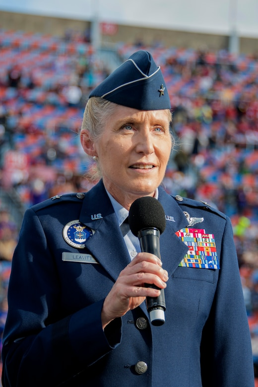 "U.S. Air Force Brig. Gen. Jeannie Leavitt, commander of Air Force Recruiting Service, speaks to the crowd during while receiving the 2018 Omar Bradley ""Spirit of Independence"" Award during halftime of the 2018 Walk On's Independence Bowl in Shreveport, Louisiana, December 27, 2018. The award is given to American citizens of organizations that symbolize the spirit of freedom and independence which the United States was founded. (U.S. Air Force photo by Airman 1st Class Maxwell Daigle)."