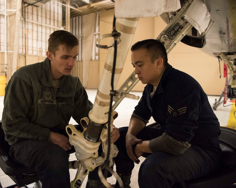 (From left to right) Staff Sgt. Austin Humphres, 849th Aircraft Maintenance Squadron dedicated crew chief, and Senior Airman Jordan Eveland, 314th Aircraft Maintenance Unit DCC, perform maintenance on an F-16 Fighting Falcon Oct. 18 on Holloman Air Force Base, N.M. As DCCs, Humphres and Eveland are assigned to specific aircraft, and are responsible for all fight essential maintenance on their aircraft. (U.S. Air Force photo by Staff Sgt. BreeAnn Sachs)