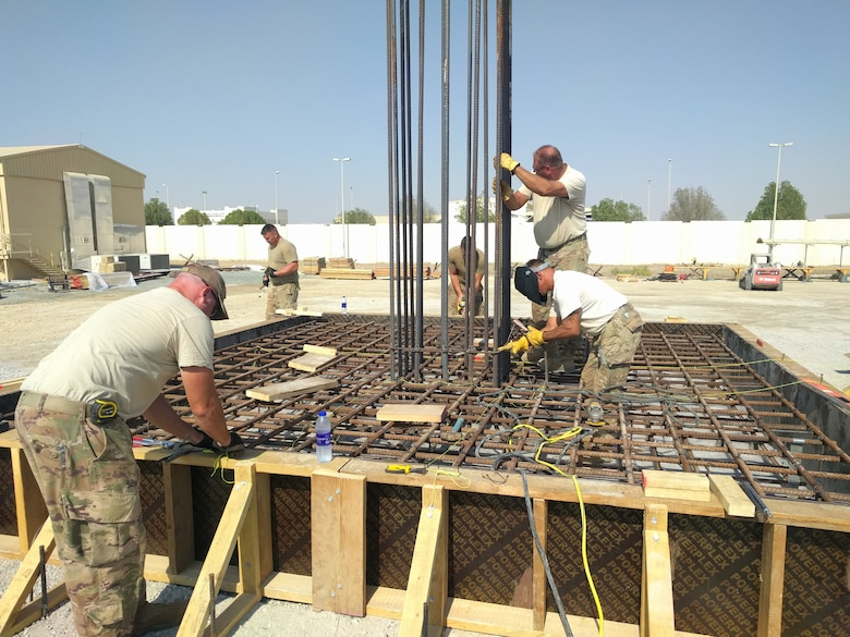 Members of the 577th Expeditionary Prime Base Engineer Emergency Force build the foundation system to support a build during construction, Dec. 23, 2018 at Al Dhafra Air Base, United Arab Emirates.
