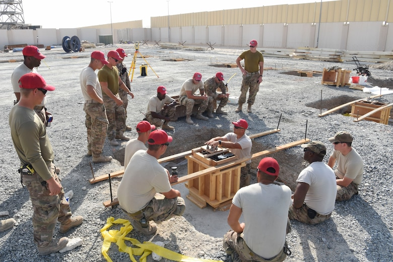 Staff Sgt. Thomas Findlay, 557th Expeditionary Rapid Engineer Deployable Heavy Operational Repair Squadron, engineering assistant, explains the foundation configuration during construction of Air Field Damage repair equipment warehouse, Dec. 23, 2018 at Al Dhafra Air Base, United Arab Emirates.