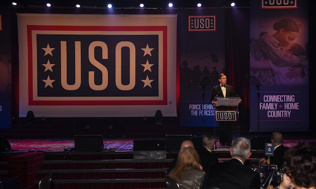 The Metropolitan New York USO President and CEO Brian Whiting, gives a speech during the 57th Annual USO Armed Forces Gala at the New York Marriott Marquis in New York City, Dec. 12, 2018. The gala is an entertainment and dinner held in honor and support of the men, women and families of the U.S. Armed Forces. (U.S. Air Force photo by Airman 1st Class Ariel Owings)