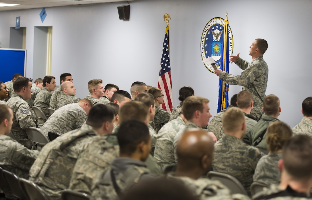 Briefing by base chaplain