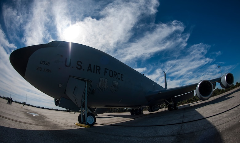 A KC-135 Stratotanker aircraft sits on the flightline at MacDill Air Force Base, Fla., Jan. 30, 2018 prior to a refueling flight with the 914th Air Refueling Wing (ARW) from Niagara Air Reserve Station, N.Y.