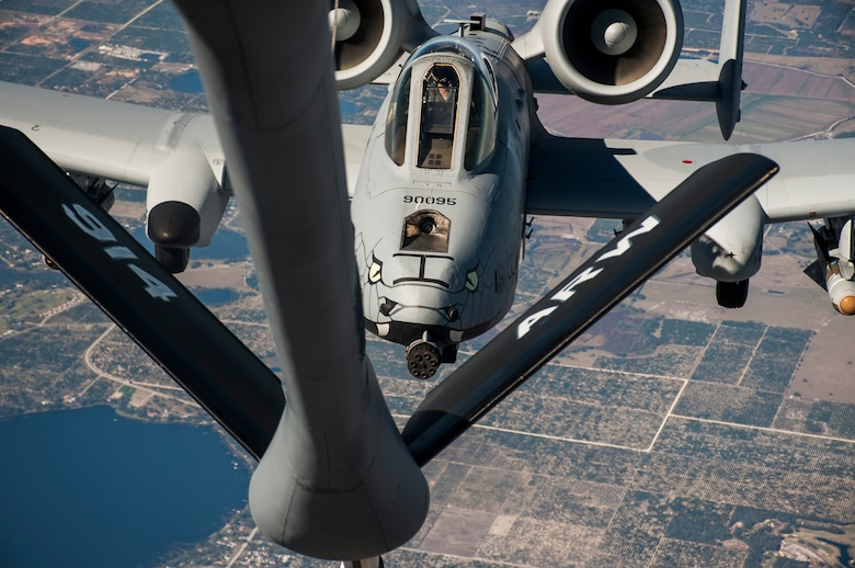 An A-10 Thunderbolt II aircraft with the 122nd Fighter Wing (FW), Fort Wayne Air National Guard Station, Ind., closes in to receive fuel from a KC-135 Stratotanker over Avon Park, Fla., Jan. 30, 2018.