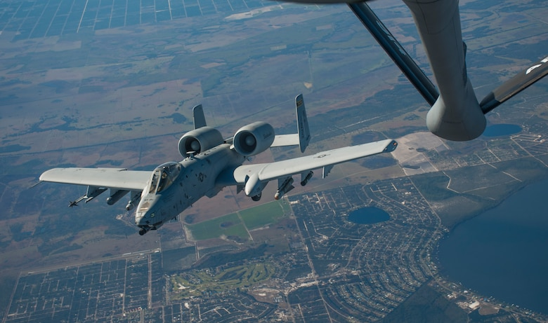 An A-10 Thunderbolt II aircraft with the 122nd Fighter Wing (FW), Fort Wayne Air National Guard Station, Ind., banks right after receiving fuel from a KC-135 Stratotanker with the 914th Air Refueling Wing (ARW), Niagara Air Reserve Station, N.Y., over Avon Park, Fla., Jan. 30, 2018.