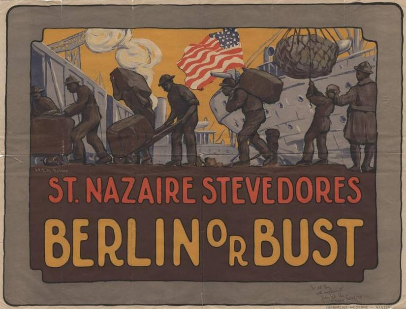 A World War I poster depicting stevedores at work.