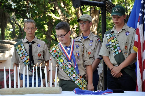 Benjamin Rawald commences an Eagle Scout ceremony at the Whitehead Museum in Del Rio, Texas, Aug. 7, 2016. One of his biggest achievements, finishing the tasks required to receive his Boy Scout's exploring merit badge, means Rawald has completed and attained every possible Boy Scout badge currently available.