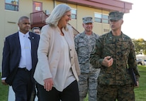 The Honorable Susan M. Gordon, left, speaks with Col. John Walker, Assistant Chief of Staff, G-2 Intelligence, I Marine Expeditionary Force on Camp Pendleton, Calif., Jan. 29, 2018. Gordon is the Principal Deputy Director of National Intelligence and visited Camp Pendleton to meet with key I MEF personnel concerning how the intelligence community supports warfighting and tactics in the modern era.
