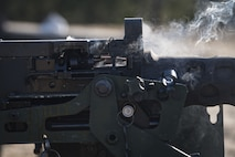 A .50 caliber round travels through an M2 machine gun, Jan. 23, 2018, at Camp Blanding Joint Training Center, Fla. The Airmen traveled to Blanding to participate in Weapons Week where they qualified on heavy weapons ranging from the M249 light machine gun to the M18 Claymore mine. (U.S. Air Force photo by Senior Airman Janiqua P. Robinson)