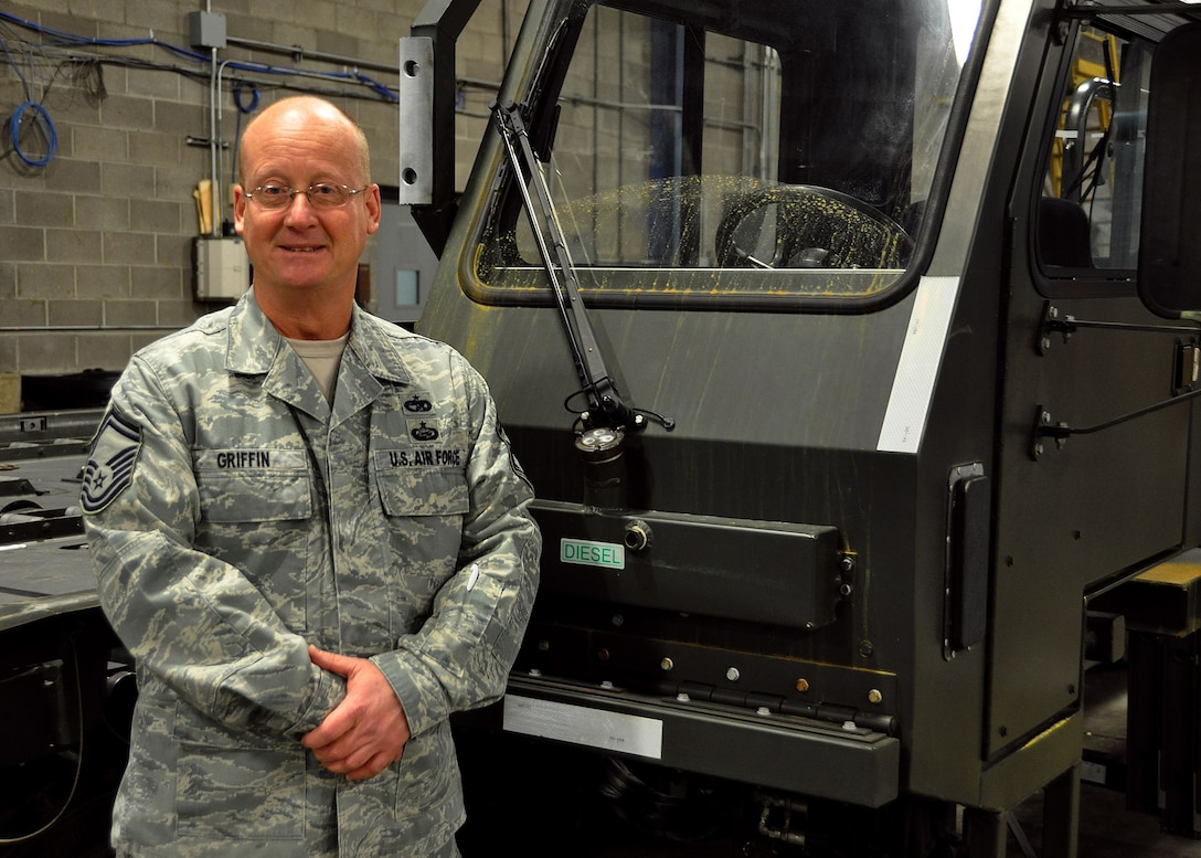 Senior Master Sgt. Don Griffin, 87th Aerial Port Squadron unit deployment manager, is the 445th Airlift Wing February Spotlight Performer.