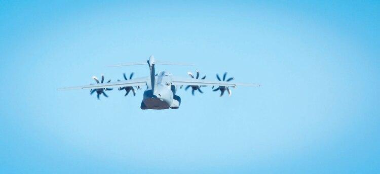 An A400 Atlas departs Marine Corps Air Station Beaufort, Jan. 25.