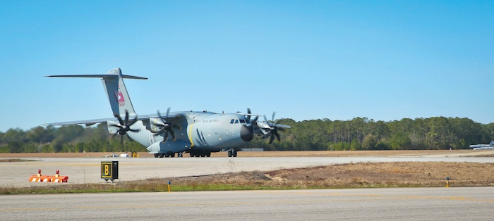 An A400 Atlas takes off aboard Marine Corps Air Station Beaufort, Jan. 25. .