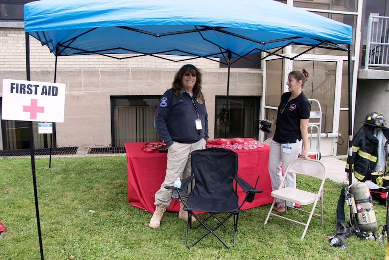 Jean Brockner, a USACE, Buffalo District contractor runs the First Aid station during the Erie Canal bicentennial event held at the Buffalo District headquarters on Aug. 8, 2017.