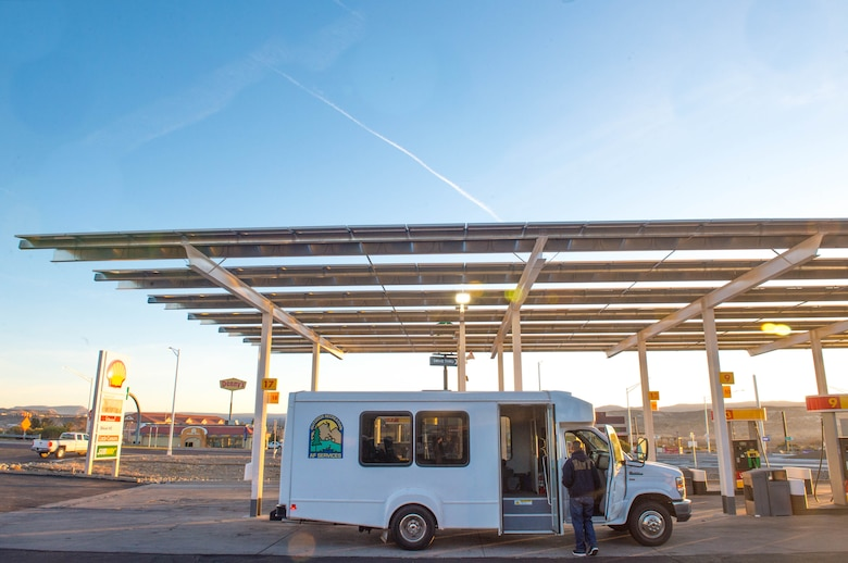 A bus from the 56th Force Support Squadron Outdoor Recreation facility stops for gas in Camp Verde, Ariz., Jan. 27, 2018. Outdoor Recreation hosted a trip to Grand Canyon National Park for 12 military affiliated Thunderbolts. (U.S. Air Force photo/Airman 1st Class Caleb Worpel)