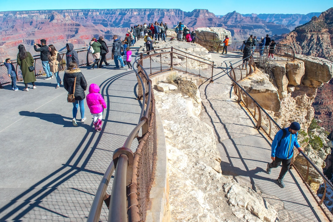 Visitors view the Grand Canyon from Mather Point at Grand Canyon National Park, Ariz., Jan. 27, 2018. The Grand Canyon is one of the most frequently visited destinations for Airmen stationed in Arizona. (U.S. Air Force photo/Airman 1st Class Caleb Worpel)