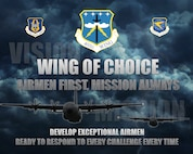 The 403rd Wing at Keesler Air Force Base, Mississippi, adopted new vision and mission statements Jan. 29, 2018. The goal of these statements is to focus 403rd Reserve Citizen Airmen on the training they perform in support of the wing's mission and direct their energy toward fulfilling the requirements of the Air Force Reserve Command and the mission of the Air Force as a whole. (U.S. Air Force graphic by Maj. Marnee A.C. Losurdo)