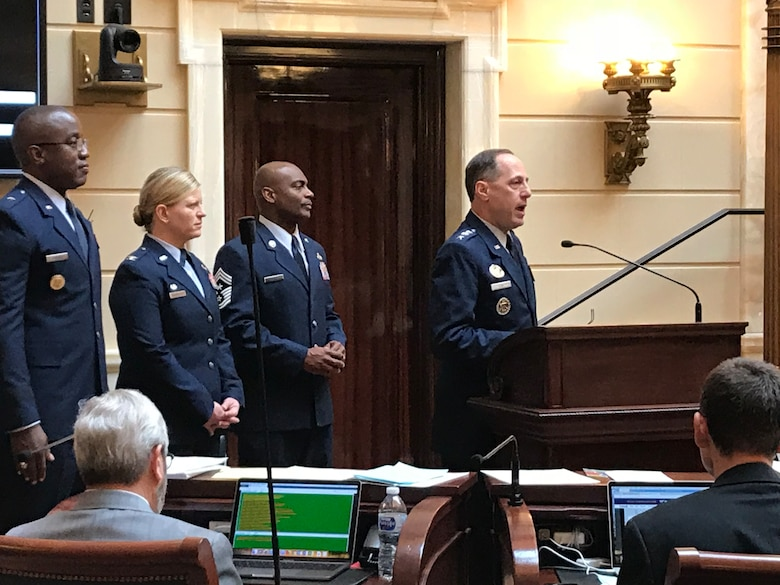 Air Force Sustainment Center Commander Lt. Gen. Lee K. Levy II addresses members of the Utah State House of Representatives on Wednesday. Lt Gen Levy also addressed members of the Utah State Senate concerning the importance of relationships between legislatures and military installations.  Military and civil leaders then attended the Meet the Military event at the Utah State Capitol rotunda. (Courtesy photo)