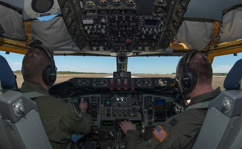 U.S. Air Force Maj. Justin Fadem, director of operations, and Capt. Travis Richards, a co-pilot, both assigned to the 328th Air Refueling Squadron from Niagara Air Reserve Station, N.Y., taxi a KC-135 Stratotanker aircraft at MacDill Air Force Base, Fla., Jan. 30, 2018.