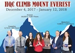 Individual winners and teams pose according to their height achievements in the HQC Climb Mount Everest challenge.