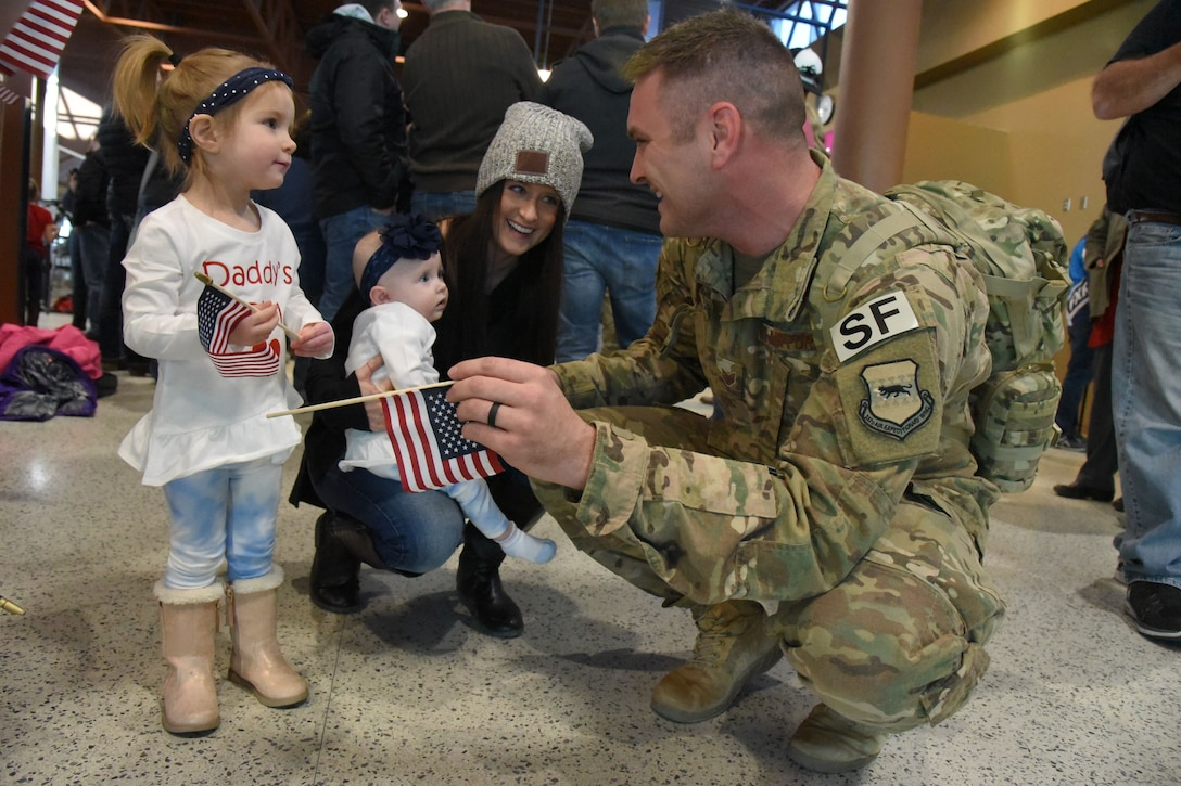 119th Security Forces members return from deployment Feb. 1, 2018.
