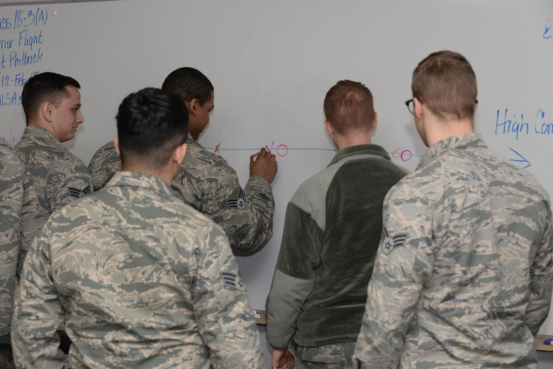 Airmen attending the Airman Leadership School mark where they and their supervisor fall onto a scale of high professionalism or less professional inside the Samuel O. Turner ALS building at Ellsworth Air Force Base, S.D., Jan. 16, 2018. To be eligible for promotion to staff sergeant, Airman must attend the month-long professional military education course. (U.S. Air Force photo by Airman 1st Class Nicolas Z. Erwin)