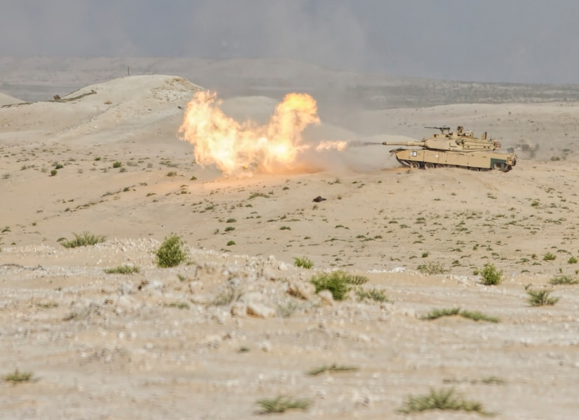 An M1 Abrams tank from 2nd Brigade Combat Team, 1st Armored Division, Fort Bliss, Texas fires a 120mm round during a live fire exercise at Iron Union 18-6 in the United Arab Emirates, Jan. 23, 2018. Iron Union is a recurring exercise focusing on combined arms, security, and staff operations. It is designed to strengthen military-to-military relations between the U.S. and the UAE land forces. It is an excellent training opportunity for both countries to build tactical proficiency in critical mission areas, gain an understanding of each other's forces, and support long-term regional stability.