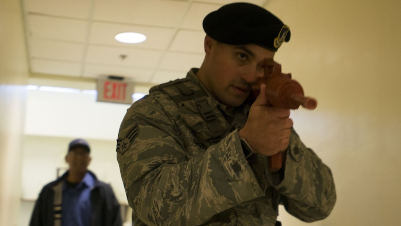 Greene was advancing slowly to maintain the element of surprise and avoid fatigue before engaging the simulated threat.