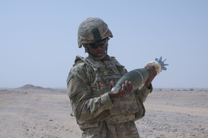 Pfc. Tyiamarte Linley, an ammo bearer and mortarman with Headquarters and Headquarters Company, 1st Battalion, 35th Armored Regiment, 2nd Armored Brigade Combat Team, 1st Infantry Division, prepares 120mm mortars for firing, Jan 29. 2018, during Inferno Creek 2018 near Thumrait, Oman. Inferno Creek 2018 is an annual Omani-U.S. exercise focused on building bilateral ties between the two militaries. This is the first time the exercise was held at the company level.
