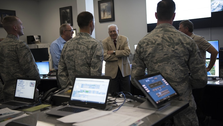 Dr. John Meisenheimer speaks to members of the 45th Weather Squadron prior to the GovSat-1 launch, Jan. 31, 2018 at Cape Canaveral Air Force Station, Fla. (U.S. Air Force photo by Airman Zoe Thacker)