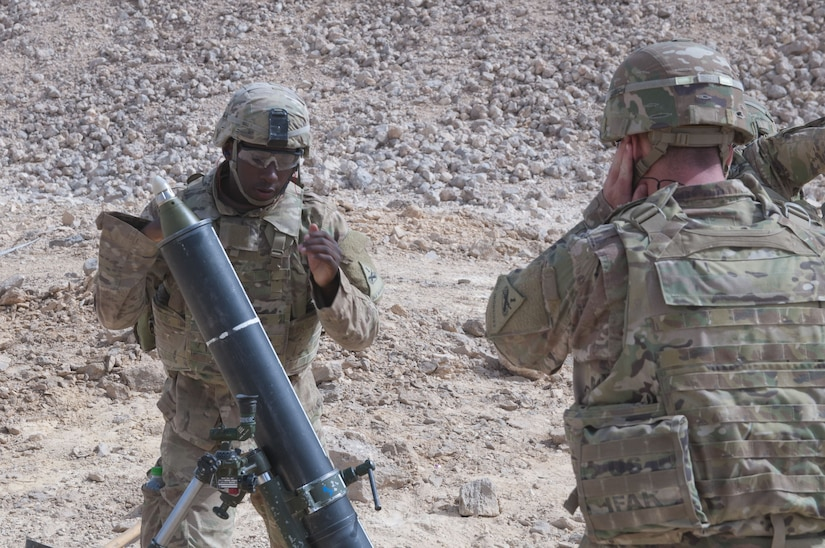 Specialist Holian Ball, an assistant gunner and mortarman with Headquarters and Headquarters Company, 1st Battalion, 35th Armored Regiment, 2nd Armored Brigade Combat Team, 1st Infantry Division, fires a 120mm mortar in support of U.S. and Omani forces, Jan 29. 2018, during Inferno Creek 2018 near Thumrait, Oman. Inferno Creek 2018 is an annual Omani-U.S. exercise focused on building bilateral ties between the two militaries. This is the first time the exercise was held at the company level.