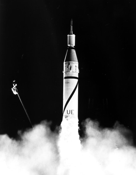 The United States' first satellite, Explorer 1, is launched into orbit by a Jupiter C rocket at 10:48 p.m. EST, on Jan. 31, 1958. Explorer 1 confirmed existence of high-radiation bands above the Earth's atmosphere. (Courtesy photo by NASA)