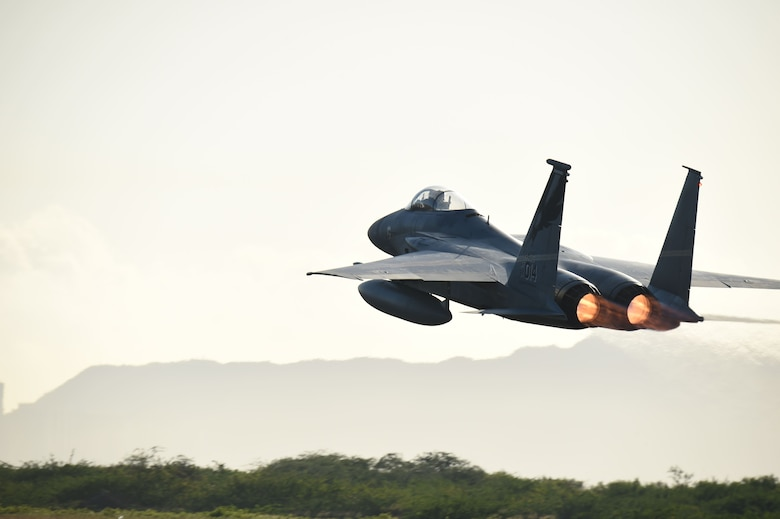 An F-15 Eagle fighter jet from California Air National Guard's 144th Fighter Wing takes-off for the morning launch during Sentry Aloha 18-01 Jan. 12, 2017, at Joint Base Pearl Harbor-Hickam, Hawaii. Sentry Aloha provides tailored, cost effective and realistic combat training for the Air Force, Air National Guard and other Department of Defense services to provide warfighters with the skill sets necessary to perform their homeland defense and overseas combat missions. (U.S. Air National Guard photo by Senior Master Sgt. Chris Drudge)
