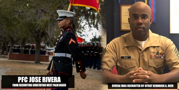 Private First Class Jose Rivera graduated Marine Corps recruit training Feb. 2, 2018, aboard Marine Corps Recruit Depot Parris Island, South Carolina. Rivera was the Honor Graduate of platoon 2012. Rivera was recruited by GySgt. Kendrick A. Reed from Recruiting Substation West Palm Beach. (U.S. Marine Corps photo by Lance Cpl. Jack A. E. Rigsby)